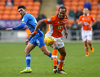 Blackpool's Nathan Delfouneso battles with Portsmouth's Danny Rose<br /> <br /> Photographer Alex Dodd/CameraSport<br /> <br /> The EFL Sky Bet League One - Blackpool v Portsmouth - Saturday 11th November 2017 - Bloomfield Road - Blackpool<br /> <br /> World Copyright &copy; 2017 CameraSport. All rights reserved. 43 Linden Ave. Countesthorpe. Leicester. England. LE8 5PG - Tel: +44 (0) 116 277 4147 - admin@camerasport.com - www.camerasport.com