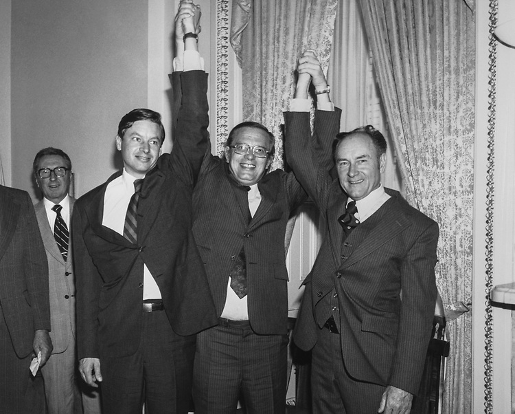 Rep, Guy Vander Jagt, R-Mich., Rep. Tom Petri, R-Wis., Rep. William Royer, R-Calif., at the Minority Whip's Office (Photo by CQ Roll Call via Getty Images)