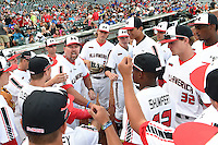 Sean Casey talks with team members before the Under Armour All-American Game on August 16, 2014 at Wrigley Field in Chicago, Illinois.  (Mike Janes/Four Seam Images)