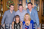 Enjoying a Christmas party night out last Saturday in Leen's Hotel, Abbeyfeale were f l-r: Christina O'Connell(Abbeyfeale), Grainne Ahern(Athea). B l-r: Damien O'Connell(Abbeyfeale), David Curtin(Mountcollins) and Tom Aherne(Athea).