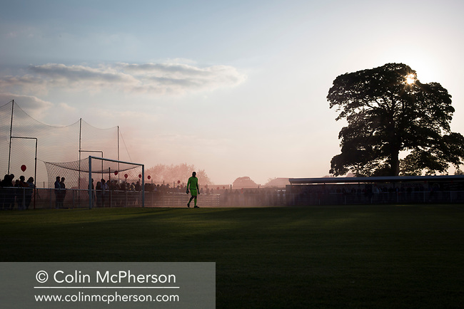 Home team goalkeeper Danny Read takes up his place in goal at Yockings Park before Whitchurch Alport hosted Cammell Laird 1907 in the 2017-18 North West Counties Division One play-off final. Alport were formed in 1946 and were named after Alport Farm, Whitchurch, which had been the home of a local footballer Coley Maddocks who had been killed in action in the war. The home team won the match 2-1 watched by a crowd of 773, a club record attendance.
