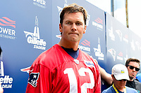 June 7, 2018: New England Patriots quarterback Tom Brady (12) speaks to the media at the team's mini camp held on the practice fields at Gillette Stadium, in Foxborough, Massachusetts. Eric Canha/CSM