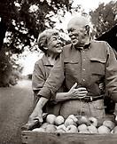 USA, California, Philo, old couple embracing, The Philo Apple Farm (B&W)