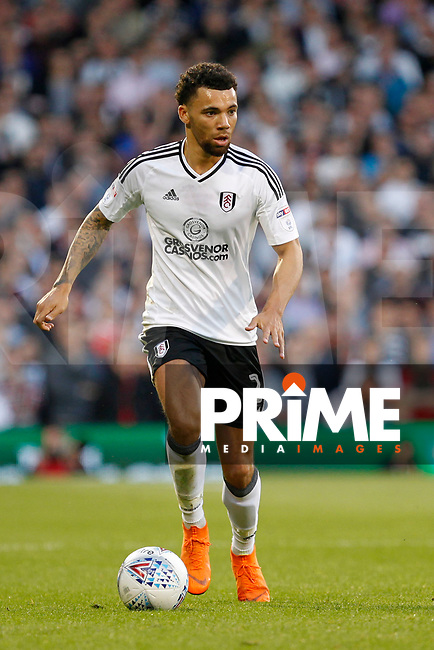 Ryan Fredericks of Fulham on the ball during the Sky Bet Championship play off semi final 2nd leg match between Fulham and Derby County at Craven Cottage, London, England on 15 May 2018. Photo by Carlton Myrie / PRiME Media Images.