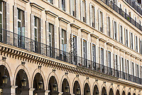 Parisian architecture in Rue de Rivoli, Central Paris, France