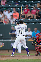 Toby Thomas (17) of the Winston-Salem Dash at bat against the Salem Red Sox at BB&T Ballpark on June 18, 2015 in Winston-Salem, North Carolina.  The Red Sox defeated the Dash 8-2.  (Brian Westerholt/Four Seam Images)