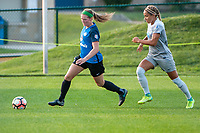 Kansas City, MO - Thursday August 10, 2017: Maegan Kelly, Jaelene Hinkle during a regular season National Women's Soccer League (NWSL) match between FC Kansas City and the North Carolina Courage at Children's Mercy Victory Field.