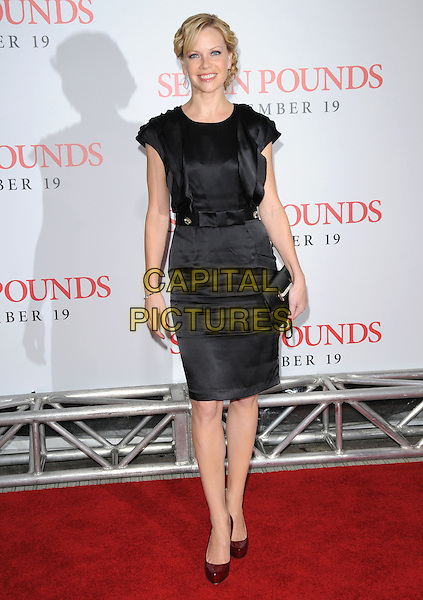 "SARAH JANE MORRIS.L.A. Premiere of ""Seven Pounds"" held at The Mann Village Theatre in Westwood, California, USA. .December 16th, 2008.full length sara black dress clutch bag belt red shoes .CAP/DVS.©Debbie VanStory/Capital Pictures."