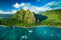 An aerial view of Ka'a'awa Valley and Kualoa Ranch, Windward O'ahu.