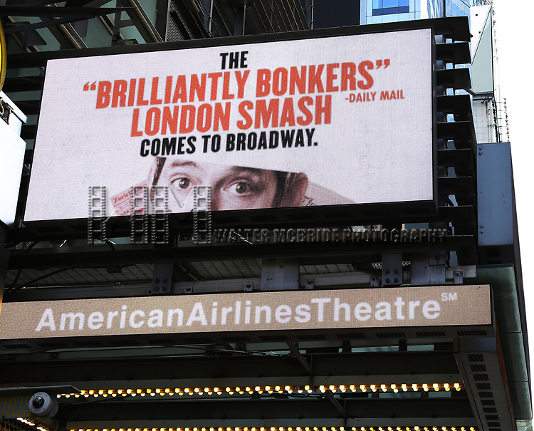 """Theatre Marquee for """"Travesties"""" starring Tom Hollander on March 6, 2018 at the Roundabout Theatre in New York City."""