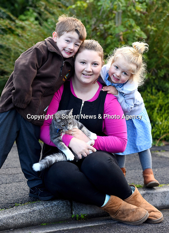 Pictured:  Miles Povey with Rocky the cat who follows him to his school in Southampton.   Pictured with his mum Abbi and younger sister Willow, 3.<br /> <br /> Little Miles Povey and his new kitten are so inseparable that when he started school for the first time his pet came too.  The five-year-old walks to and from school every day accompanied by five month old Rocky.<br /> <br /> The grey and white quarter Persian kitten even joins him in classes and has become a firm favourite with Miles' school pals.  Miles joined reception at Oakwood Primary School in Southampton, Hants, last month.  SEE OUR COPY FOR DETAILS.<br /> <br /> © Roger Arbon/Solent News & Photo Agency<br /> UK +44 (0) 2380 458800