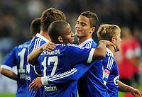 FUSSBALL   1. BUNDESLIGA   SAISON 2012/2013   5. SPIELTAG FC Schalke 04 - FSV Mainz 05                               25.09.2012        Jubel nach dem 1:0: Jefferson Farfan (li) und Ibrahim Affelay (re, beide FC Schalke 04)