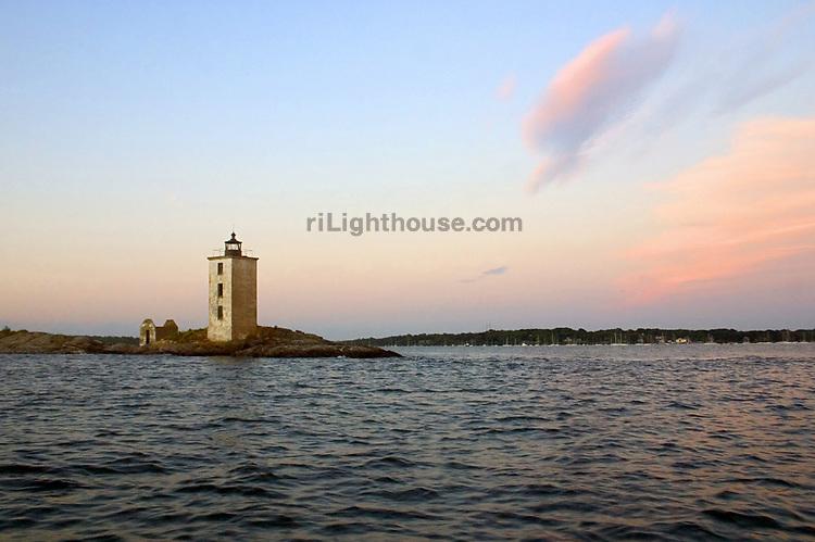Sunset at Dutch Island Lighthouse prior to restoration.