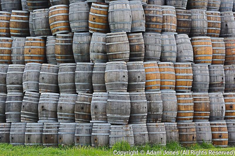 Stacked wine barrels, Napa Valley, California