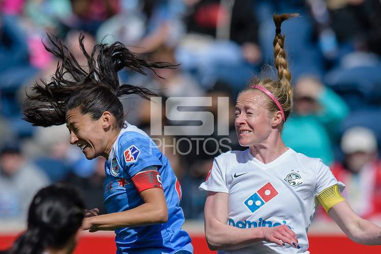 Bridgeview, IL - Saturday April 22, 2017: Christen Press, Becky Sauerbrunn during a regular season National Women's Soccer League (NWSL) match between the Chicago Red Stars and FC Kansas City at Toyota Park.