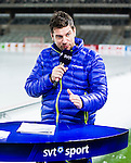 Stockholm 2015-03-13 Bandy SM-final damer Kareby IS - AIK :  <br /> SVT:s programledare Peter Ahnberg i TV-studion under matchen mellan Kareby IS och AIK <br /> (Foto: Kenta J&ouml;nsson)<br /> Nyckelord:  SM SM-final final Bandyfinal Bandyfinalen Dam Damer Dambandy AIK Kareby IS portr&auml;tt portrait TV k&auml;ndis Tv-k&auml;ndis