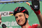 Tim Wellens (BEL) Lotto-Soudal at sign on before the start of the 112th edition of Il Lombardia 2018, the final monument of the season running 241km from Bergamo to Como, Lombardy, Italy. 13th October 2018.<br /> Picture: Eoin Clarke | Cyclefile<br /> <br /> <br /> All photos usage must carry mandatory copyright credit (© Cyclefile | Eoin Clarke)