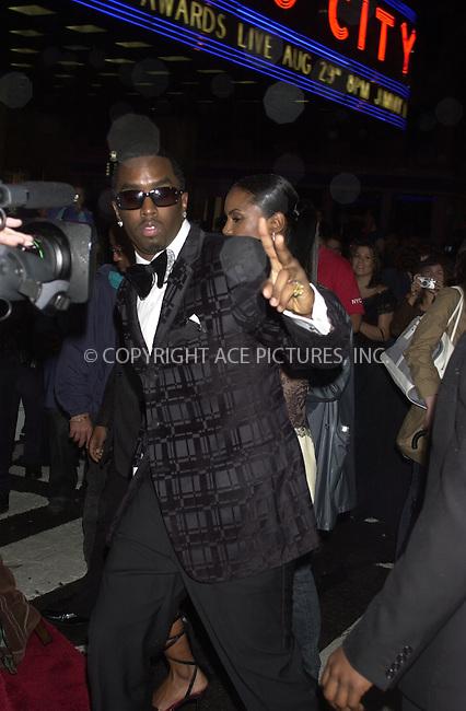 WWW.ACEPIXS.COM ** ** ** ....August 29, 2002. New York City.....Music mogul Sean 'Diddy' Combs arrives at the MTV Video Music Awards at Radio City Music Hall in New York City.......Please byline: Philip Vaughan -- ACEPIXS.COM.. *** ***  ..Ace Pictures, Inc:  ..tel: (646) 769 0430..e-mail: info@acepixs.com..web: http://www.acepixs.com