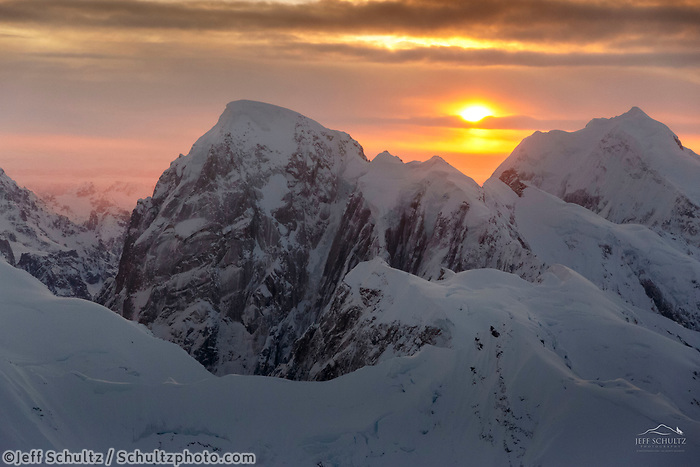 Winter landscape aerial photo of Alaska Range at sunrise<br /> <br /> Photo by Jeff Schultz/SchultzPhoto.com  (C) 2017  ALL RIGHTS RESERVED