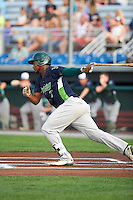 Vermont Lake Monsters first baseman Miguel Mercedes (7) at bat during a game against the Auburn Doubledays on July 12, 2016 at Falcon Park in Auburn, New York.  Auburn defeated Vermont 3-1.  (Mike Janes/Four Seam Images)