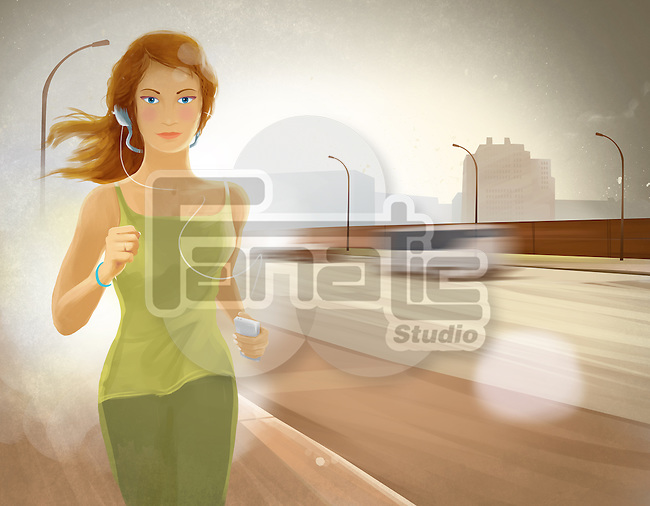 Illustration of young woman jogging while listening to music from MP3 player on sidewalk