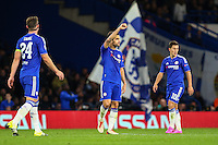 Cesc Fabregas of Chelsea (centre) celebrates scoring his team's fourth goal against Maccabi Tel-Aviv during the UEFA Champions League match between Chelsea and Maccabi Tel Aviv at Stamford Bridge, London, England on 16 September 2015. Photo by David Horn.