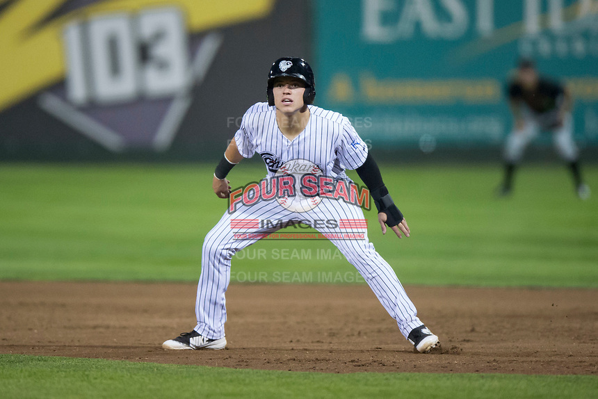 Idaho Falls Chukars second baseman Nathan Eaton (8) during a Pioneer League game against the Great Falls Voyagers at Melaleuca Field on August 18, 2018 in Idaho Falls, Idaho. The Idaho Falls Chukars defeated the Great Falls Voyagers by a score of 6-5. (Zachary Lucy/Four Seam Images)