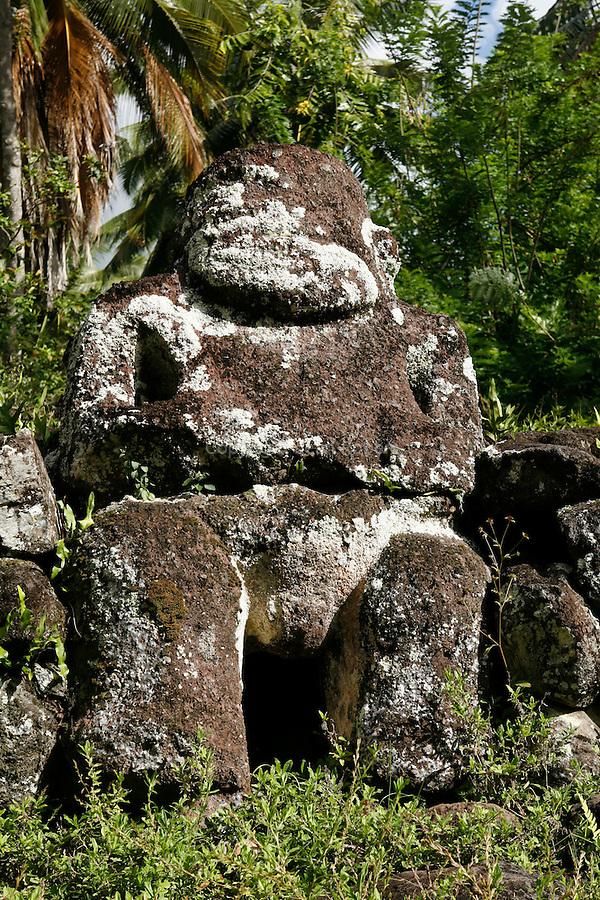 On a hillside  the archaeological site of Paeke two religious sites (mae mae) and Tiki stones. Island of Nuku Hiva <br /> A flanc de colline, au milieu d une clairiere,le site archeologique de Paeke  comprend deux sites religieux (mae mae) et des tikis adosses aux parements . Ile de Nuku Hiva