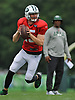Josh McCown #15, quarterback, rolls to his right during New York Jets Training Camp at the Atlantic Health Jets Training Center in Florham Park, NJ on Tuesday, Aug. 8, 2017.