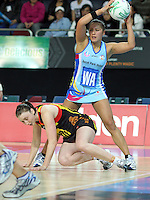 28.06.2010 Steels Liana Barrett-Chase in action during the ANZ Champs Semi Final netball match between the Magic and Steel played at Vector Arena in Auckland. ©MBPHOTO/Michael Bradley