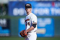 Oregon State Beavers relief pitcher Nathan Burns (24) during an NCAA game against the New Mexico Lobos at Surprise Stadium on February 14, 2020 in Surprise, Arizona. (Zachary Lucy / Four Seam Images)