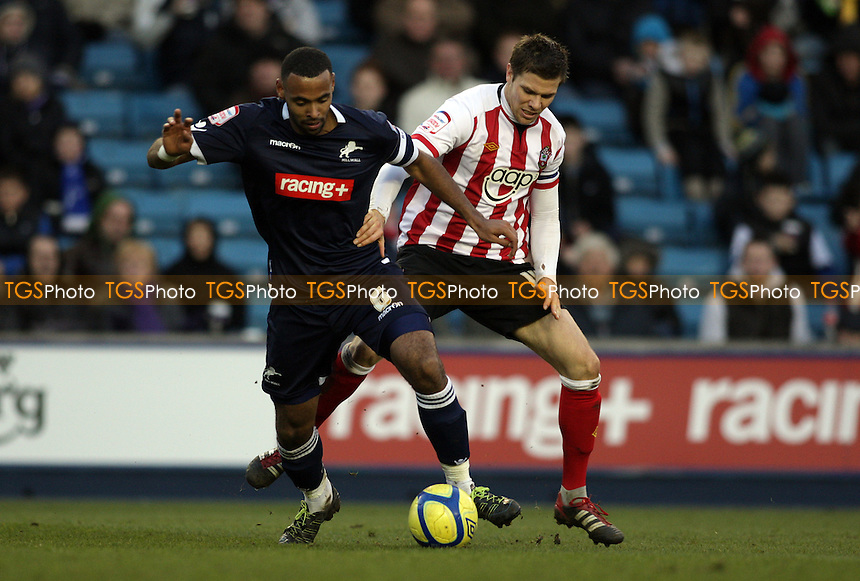 Liam Trotter of Millwall FC and Dean Hammond of Southampton FC competes for the ball - Millwall vs Southampton - FA Cup 4th Round Football at the New Den, London - 28/01/12 - MANDATORY CREDIT: Helen Watson/TGSPHOTO - Self billing applies where appropriate - 0845 094 6026 - contact@tgsphoto.co.uk - NO UNPAID USE.