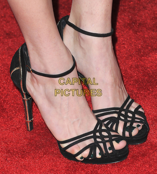 Emmy Rossum's shoes .at The Montblanc and UNICEF Pre-Oscar Brunch to Celebrate Their Limited Edition Collection with Special Guest Hilary Swank held at Hotel Bel Air in Beverly Hills, California, USA, .February 23rd 2013..feet detail sandals ankle strap black.CAP/DVS.©Debbie VanStory/Capital Pictures.