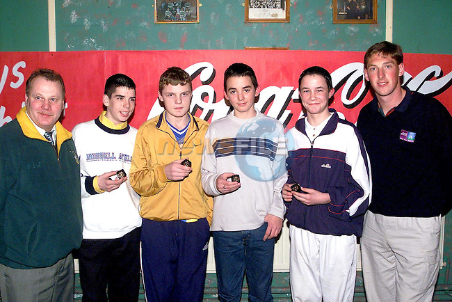 Chris Smith, Declan Collins, Colin O'Neill and Stephen Smith who recievd medals at the O'Raghallaigh's prizegiving night red with Meath's Trevor Giles and Ray Scanlon from Drogheda Concentrates..Picture Paul Mohan Newsfile