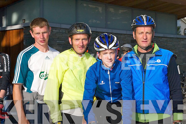 Ready for the off - Patrick OShea, Valentia Island, Tom Lynch, Caherciveen, Brian.McCarthy, Caherciveen and Leo McCarthy, Caherciveen at the start of the Ring of Kerry.Charity cycle in Killarney last Saturday morning.