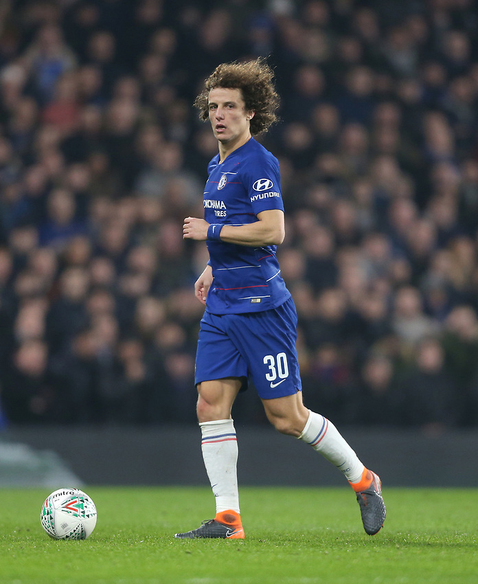 Chelsea's David Luiz<br /> <br /> Photographer Rob Newell/CameraSport<br /> <br /> The Carabao Cup Semi-Final Second Leg - Chelsea v Tottenham Hotspur - Thursday 24th January 2019 - Stamford Bridge - London<br />  <br /> World Copyright © 2018 CameraSport. All rights reserved. 43 Linden Ave. Countesthorpe. Leicester. England. LE8 5PG - Tel: +44 (0) 116 277 4147 - admin@camerasport.com - www.camerasport.com