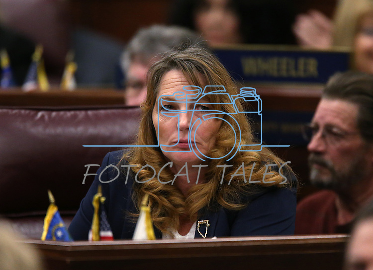 Nevada Assembly Minority Leader Marilyn Kirkpatrick, D-North Las Vegas, listens as Gov. Brian Sandoval delivers his State of the State address at the Legislative Building in Carson City, Nev., on Thursday night, Jan. 15, 2015. (Las Vegas Review-Journal/Cathleen Allison)