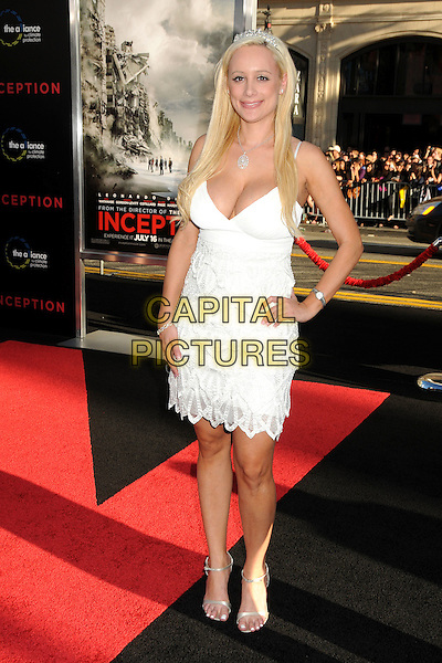 "ERICA ROSE .""Inception"" Los Angeles Film Premiere held at Grauman's Chinese Theatre, Hollywood, California, USA, .13th July 2010..full length white dress hand on hip tiara .CAP/ADM/BP.©Byron Purvis/AdMedia/Capital Pictures."