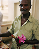 SRI LANKA, Asia, Kandy, portrait of a vendor holding Lotus flower