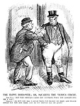 """The Happy Borrower; or, Squaring the Vicious Circle. John Bull. """"But why should I lend you anything, when you already owe me a lot?"""" Germany. """"Ah, but you see, I could then pay France my debt, and France could pay you her debt, and so we should all be quits."""" (an InterWar era cartooon showing Germany requesting a new loan while already in national debt to Britain)"""
