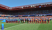 20190629 - VALENCIENNES , FRANCE : line up of both teams  pictured during the female soccer game between Italy  - Squadra Azzurrine - and The Netherlands  – Oranje Leeuwinnen - , a knock out game in the quarter finals of the FIFA Women's  World Championship in France 2019, Saturday 29 th June 2019 at the Stade du Hainaut Stadium in Valenciennes , France .  PHOTO SPORTPIX.BE | DIRK VUYLSTEKE