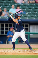 Northwest Arkansas Naturals catcher Luis Villegas (19) at bat during a game against the Midland RockHounds on May 27, 2017 at Arvest Ballpark in Springdale, Arkansas.  NW Arkansas defeated Midland 3-2.  (Mike Janes/Four Seam Images)