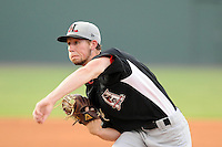 Starting pitcher Andrew Faulkner (16) of the Hickory Crawdads in a game against the Greenville Drive on Friday, August 31, 2012, at Fluor Field at the West End in Greenville, South Carolina. Greenville won, 7-2. (Tom Priddy/Four Seam Images).