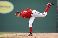 Starting pitcher Trey Ball (24) of the Greenville Drive delivers a pitch in a game against the Asheville Tourists on Tuesday, July 1, 2014, at Fluor Field at the West End in Greenville, South Carolina. Ball was a first-round pick of the Boston Red Sox (seventh overall) in the 2013 First-Year Player Draft. Asheville won, 5-2. (Tom Priddy/Four Seam Images)
