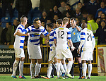 Morton v St Johnstone....30.10.13   Scottish League Cup Quarter Final<br /> Ref John McKendrick is surrounded by angry Morton players at full time<br /> Picture by Graeme Hart.<br /> Copyright Perthshire Picture Agency<br /> Tel: 01738 623350  Mobile: 07990 594431