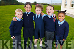 Enjoying their first day in Mrs Lynch class in Dromnacurrow NS on Monday. <br /> L-r, Brayden Canty, Admira Counihan, Ruth Cantillon, Daniel Thornton and Grainne Canty.