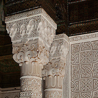 Capital in carved stucco, Kasbah of the Glaoua family, Telouet, High Atlas, Morocco. The fortress was begun in the 19th century as the residence Thami el Glaoui, 1879-1956, who was Pasha of Marrakech 1912-56. It sits at 1800m in the Atlas mountains on an ancient caravan route from the Sahara to Marrakech. Picture by Manuel Cohen