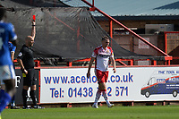 Red card for Johnny Hunt of Stevenage during Stevenage vs Tranmere Rovers, Sky Bet EFL League 2 Football at the Lamex Stadium on 4th August 2018