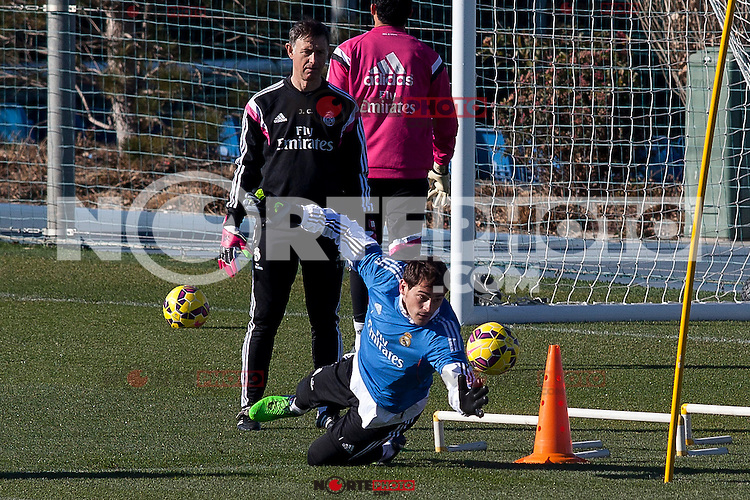 Iker Casillas during a sesion training at Real Madrid City in Madrid. January 23, 2015. (ALTERPHOTOS/Caro Marin) /NortePhoto<br /> NortePhoto.com