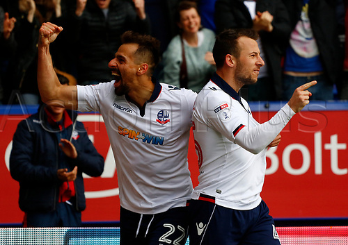 30th April 2017, Macron Stadium, Bolton, England; Skybet League 1; Bolton Wanderers versus Peterborough United; Adam Le Fondre of Bolton Wanderers celebrates with Filipe Morais aftert he fires in the third goal after 75 minutes to put his side 3-0 ahead
